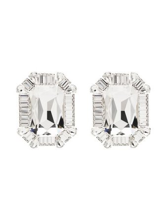 Silver Alessandra Rich square crystal clip earrings - Farfetch