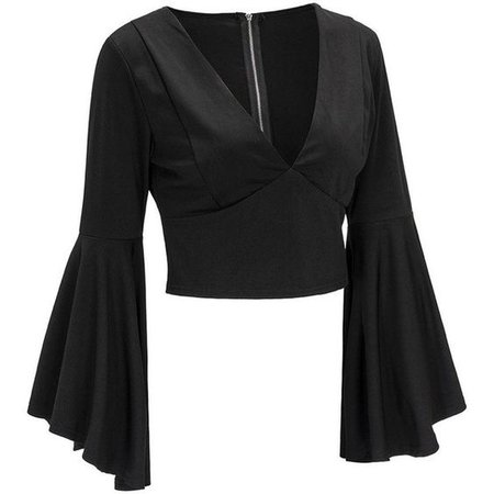 Zippered Fitted Flare Sleeve Crop Top Black