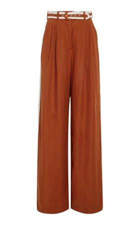 Belted Linen Wide-Leg Pants by Zimmermann | Moda Operandi