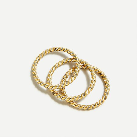 J.Crew: Twisted Ring Set For Women gold