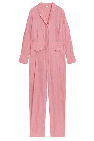 Buy ARKET Cupro-Cotton Jumpsuit Pink Long-Sleeved Online