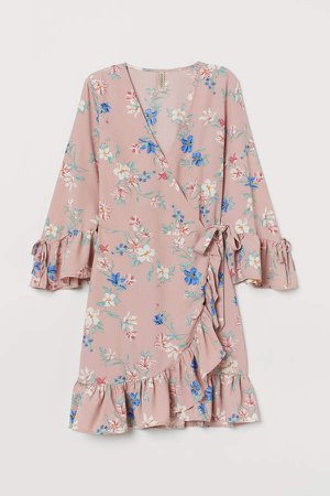 Patterned Wrap-front Dress - Pink