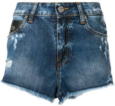 Rich print frayed edges denim shorts