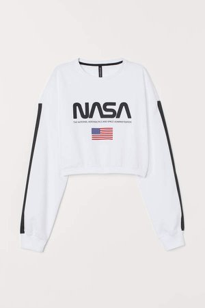 Short Printed Sweatshirt - White