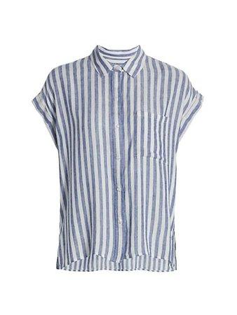 Rails Whitney Stripe Linen-Blend Shirt   SaksFifthAvenue