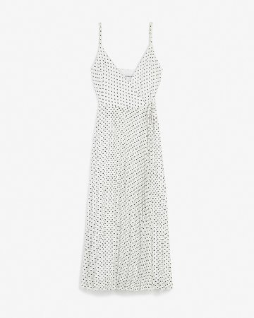 Polka Dot Pleated Wrap Midi Dress   Express