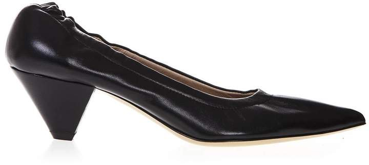 Castagna Pointed Toe Black Leather Pumps
