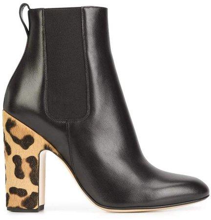 leopard heel boots