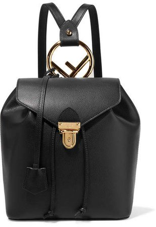 Textured-leather Backpack - Black