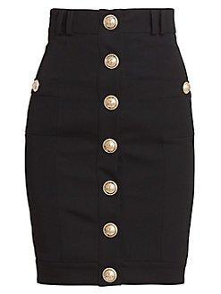 Balmain Button Front Pencil Skirt