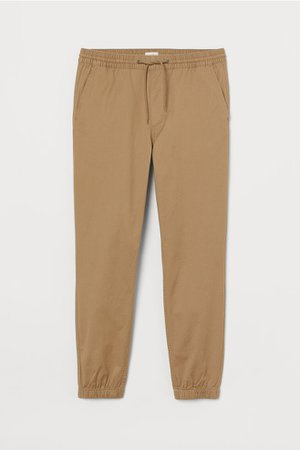 Brushed Cotton Twill Joggers - Beige - Men | H&M US