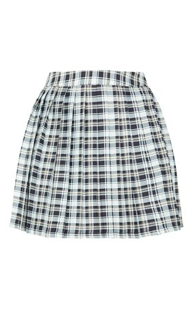White Check Woven Pleated Tennis Skirt | PrettyLittleThing