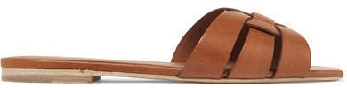 Woven Leather Slides - Tan