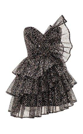 Ruffled Sequined Tulle Corset Mini Dress By Rasario | Moda Operandi
