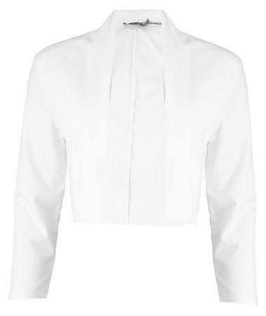 White Collared Crop Blazer