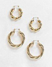 ASOS DESIGN thick hoop earrings 30mm in gold tone | ASOS