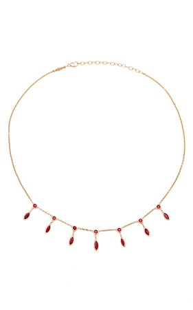 Ruby Marquise Drop Necklace by Jacquie Aiche | Moda Operandi