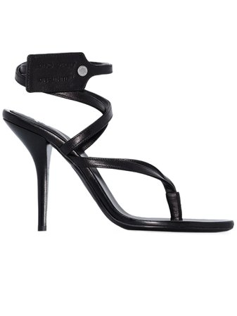 Off-White Black Leather Sandals