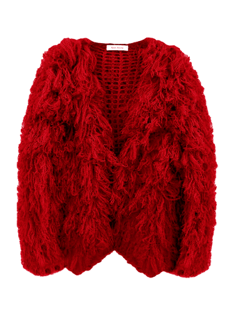 Ryan Roche Furry Cardigan - Holiday Red | Garmentory