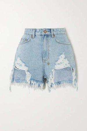 Rise N Hi Distressed Denim Shorts - Light denim