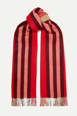 Red Fringed striped cashmere scarf | Burberry | NET-A-PORTER