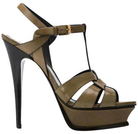 Saint Laurent Olive Green Tribute Ysl 105 Leather Platform Sandals Heels Tundra Pumps Size EU 38.5 (Approx. US 8.5) Regular (M, B) - Tradesy