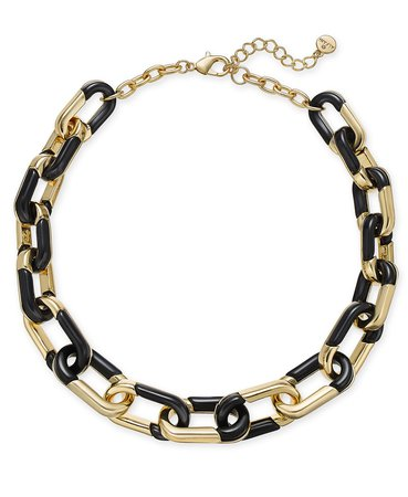 """Alfani Gold-Tone & Black Acrylic Large Link Necklace, 20"""" + 2"""" extender, Created for Macy's & Reviews - Necklaces - Jewelry & Watches - Macy's"""