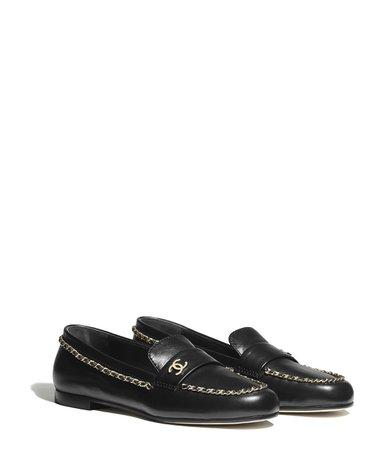 Loafers, lambskin, black - CHANEL