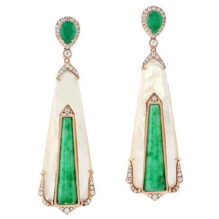 Jade Emerald 18 Karat Gold Diamond Earrings For Sale at 1stDibs