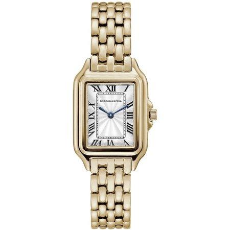 BCBGMAXAZRIA - BCBGMAXAZRIA Ladies Classic 2 Hands Quartz Analog Display Goldtone Case Silvertone Dial Goldtone Bracelet Watch, 36 mm Case BG50998008 - Walmart.com - Walmart.com