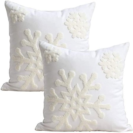 Amazon.com: Elife 18x18 Soft Canvas Christmas Winter Snowflake Style Cotton Linen Embroidery Throw Pillows Covers w/ Invisible Zipper for Bed Sofa Cushion Pillowcases for Kids Bedding (1 Pair, White): Home & Kitchen