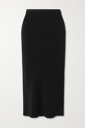 Gonna Asymmetric Ribbed Cotton Blend-trimmed Jersey Skirt - Black