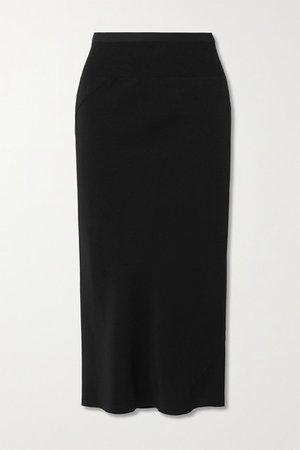 Gonna Asymmetric Ribbed Cotton Blend-trimmed Jersey Skirt - Black
