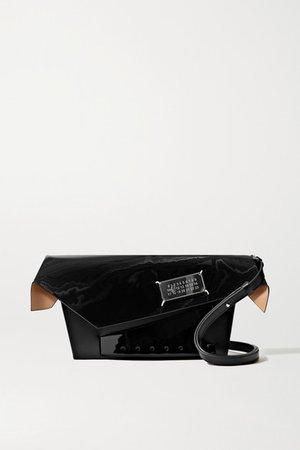 Snatched Embellished Patent-trimmed Leather Shoulder Bag - Black