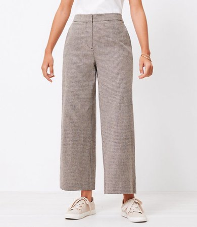The Curvy High Waist Wide Leg Crop Pant in Houndstooth