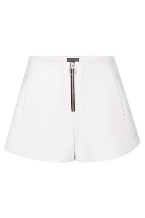 ZIP FRONT LEATHER SHORTS - WHITE