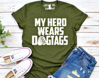 Items similar to My Hero Wears Dog Tags Shirt, Military Wife Shirt, Deployment Shirt, Military Mom Tee, Military Girlfriend, Proud Military Wife on Etsy
