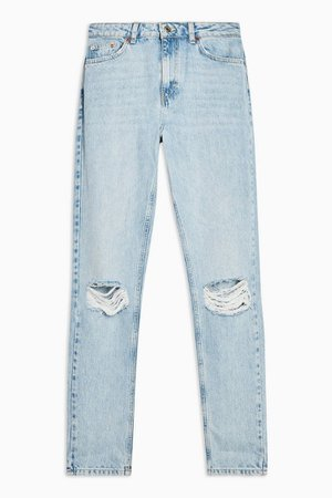 Bleach Wash Double Rip Mom Jeans | Topshop
