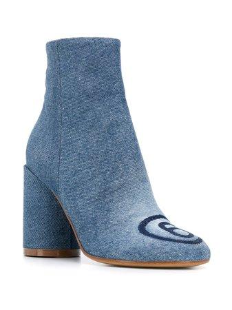 MM6 Maison Margiela Contrasting Logo Detail Ankle Boots - Farfetch