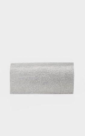 Silver Metallic Diamante Clutch Bag | PrettyLittleThing