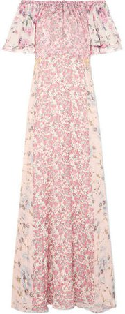 Evelyn Off-the-shoulder Floral-print Silk-georgette Maxi Dress - Pink