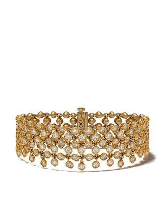 Annoushka 18kt Yellow Gold Net Lattice Diamond Bracelet - Farfetch