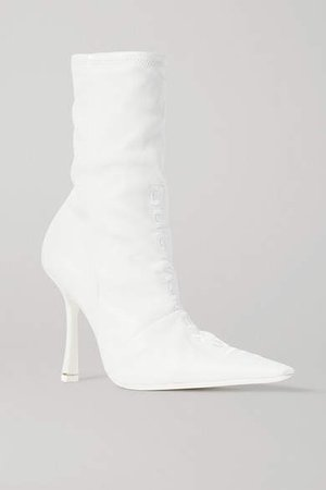Vanna Logo-embroidered Ruched Leather Sock Boots - White