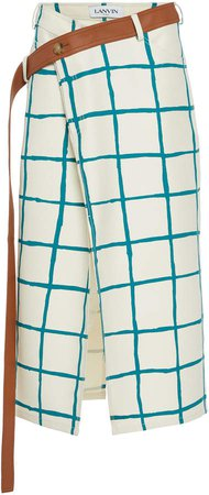 Lanvin Painted-Check Print Wool-Silk Blend Skirt Size: 36