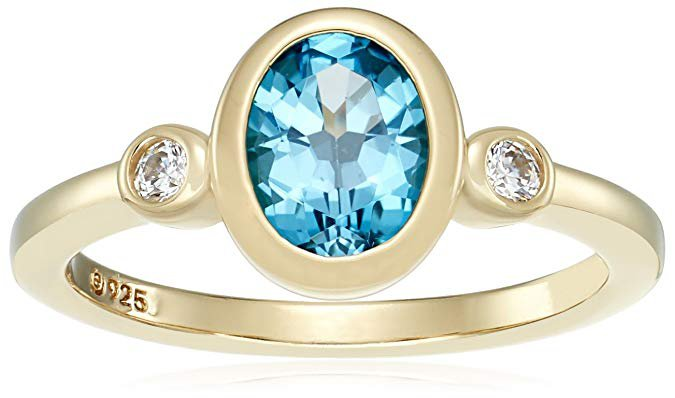 Amazon.com: Yellow-Gold-Plated Sterling Silver Gemstone and Swarovski Zirconia Textured Finish Ring: Jewelry