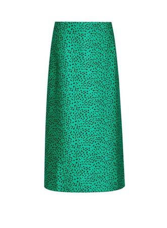 Green Animal Printed Bias Cut Midi Skirt   Dorothy Perkins