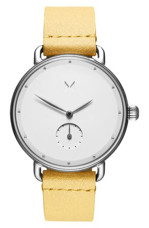 MVMT Bloom Leather Strap Watch, 36mm | Nordstrom
