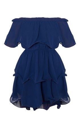 Midnight Blue Chiffon Bardot Ruffle Tiered Mini Dress   PrettyLittleThing USA