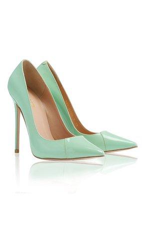 "Shoes: 'PARIS' Mint Patent Leather Pointy Toe Heels 5"""