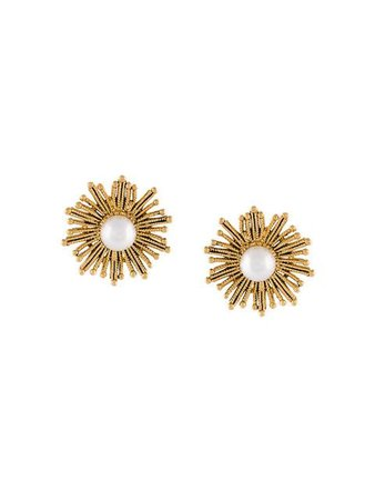 Oscar de la Renta Pearl Sun Earrings